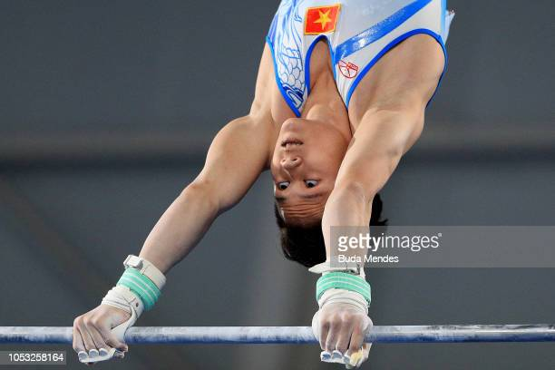 Khanh Phong van Nguyen of Vietnam competes in Men's Horizontal Bar Qualification Day 4 of Buenos Aires 2018 Youth Olympic Games at America Pavilion...
