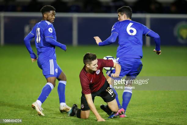 Khanya Leshabela and Alex Pascanu of Leicester City in action with Felix Cejka of Sparta Prague during the Premier League International Cup match...