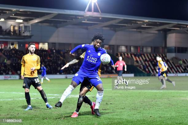 Khanya Leshabela of Leicester City during the Leasingcom quarter final match between Newport County and Leicester City U21 at Rodney Parade on...
