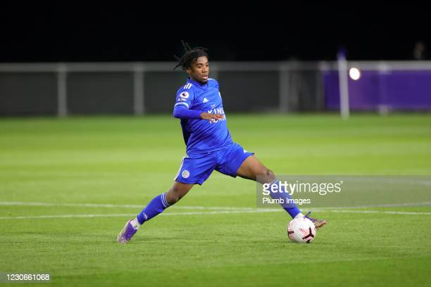 Khanya Leshabela of Leicester City during the Premier League 2 match between Leicester City and Manchester United at Leicester City Training Ground,...
