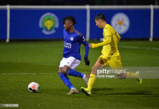 Khanya Leshabela of Leicester City with Gregorio Medina Pacheco of Villarreal during the Leicester City U23 v Villarreal B PL International Cup at...
