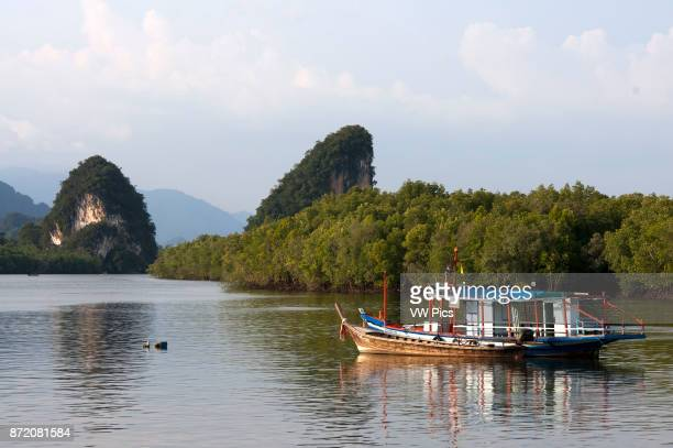Khao Khanap Nam Krabi River and Kanab Nam Twin Peaks in the distance Krabi Town Krabi Province Thailand Southeast Asia Asia A very popular place to...