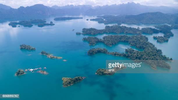 khao sok nationalpark, lake ratchaprapha, thailand - aerial view - kao sok national park stock pictures, royalty-free photos & images