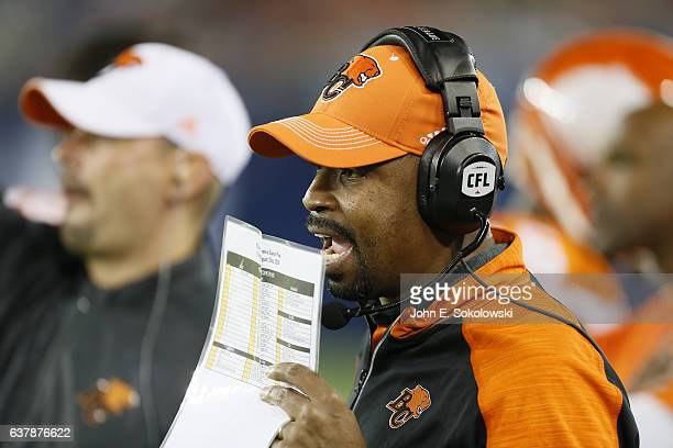 Khari Jones offensive coordinator of the BC Lions on the sidelines during a CFL game at BMO field on August 31 2016 in Toronto Ontario Canada BC...