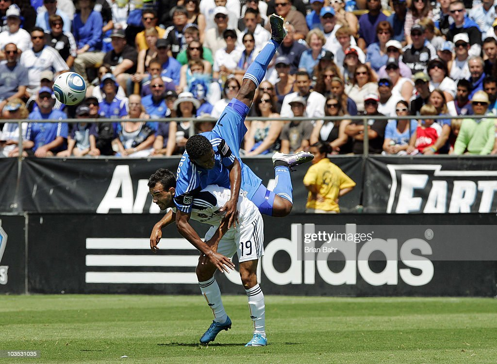 Khari Stephenson #7 of the San Jose Earthquakes flips over Juninho #19 of the Los Angeles Galaxy after going for a header on August 21, 2010 at Buck Shaw Stadium in Santa Clara, California. The Earthquakes won 1-0.