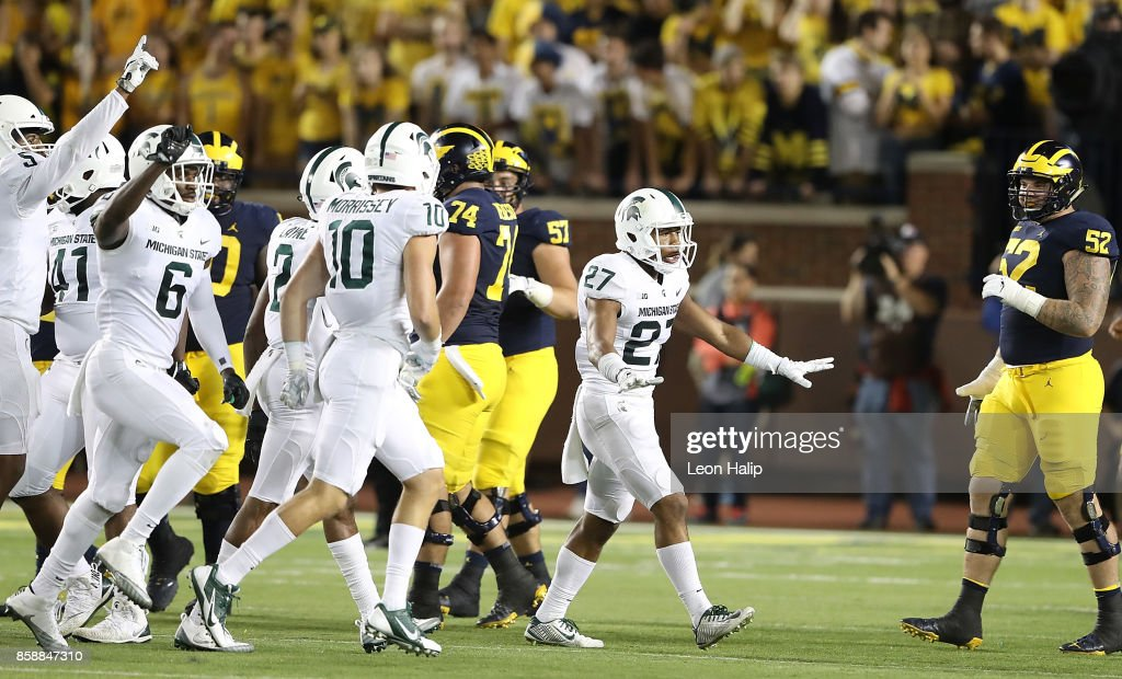 Khari Willis #27 of the Michigan State Spartans celebrates a first quarter turn over by the Michigan Wolverines at Michigan Stadium on October 7, 2017 in Ann Arbor, Michigan. Michigan State defeated Michigan 14-10.