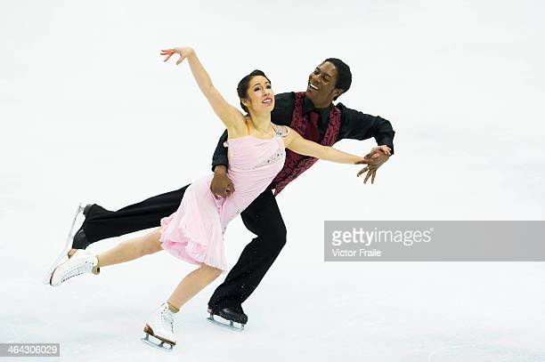 Kharis Ralph and Asher Hill of Canada compete in the Ice Dance Short Dance event during the Four Continents Figure Skating Championships on January...
