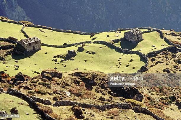 Kharka, Summer Settlement On Way To Gokyo Lake, Mount Everest Area, Nepal.