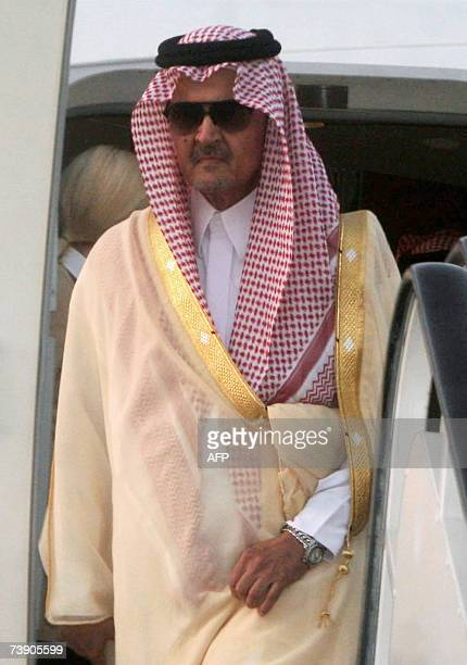 Saudi Arabian Foreign Minister Saud alFaisal arrives in Khartoum 17 April 2007 a day after Sudan accepted the second phase of a UN plan to bolster...