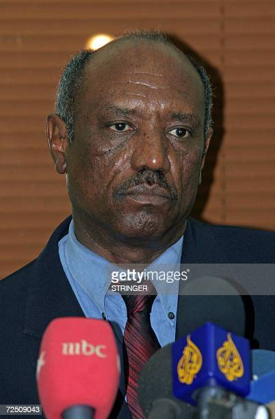 Sudan's minister for international cooperation Saleh Tigani Fedail holds a press conference in Khartoum upon his return from Bangui in the Central...
