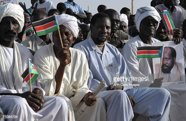 Turbaned men from north Sudan join southern Sudanese 30 May 2006 in welcoming First Vice President Salva Kiir as the former southern rebel leader...