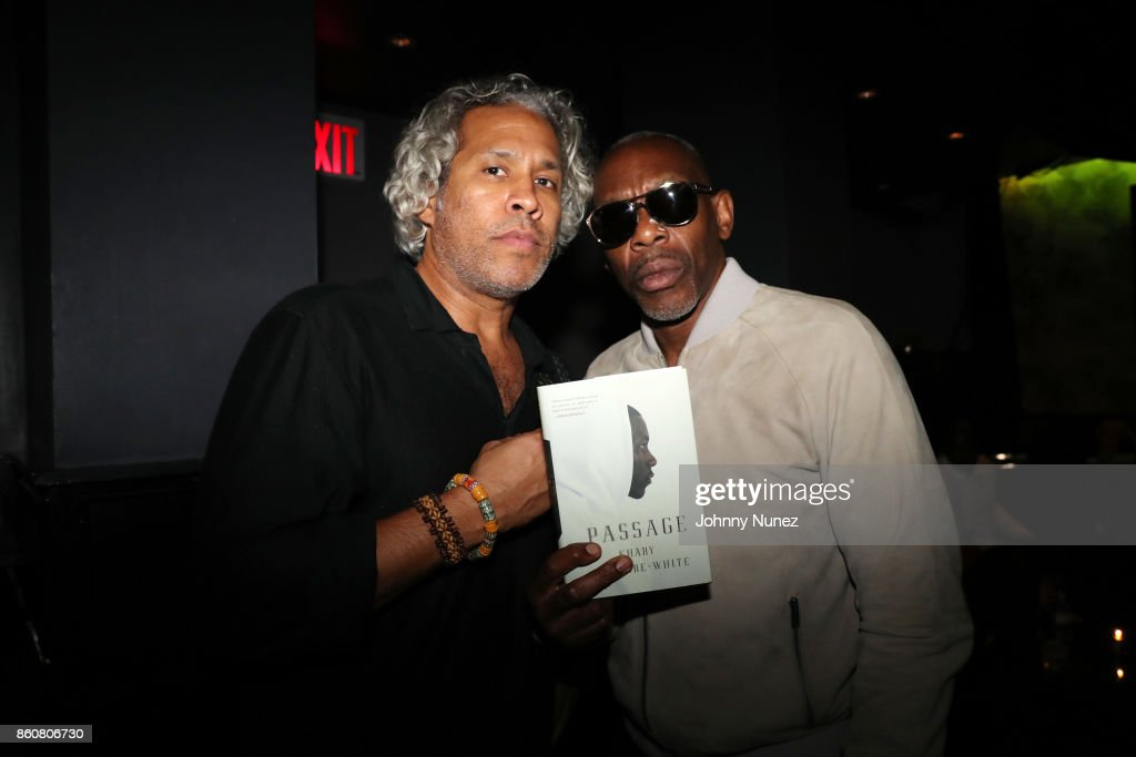 Khary Lazarre-White and Jabar attend the Khary Lazarre White 'Passage' Book Release Party at Beautique on October 12, 2017 in New York City.