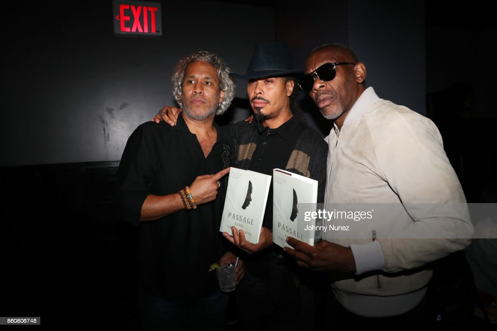 Khary Lazarre-White, Bazaar Royale, and Jabar attend the Khary Lazarre White 'Passage' Book Release Party at Beautique on October 12, 2017 in New York City.