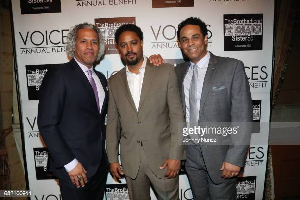 Khary LazarreWhite Jason Warwin and Adam LazarreWhite 2017 Brotherhood/Sister Sol Voices Gala at Gotham Hall on May 11 2017 in New York City