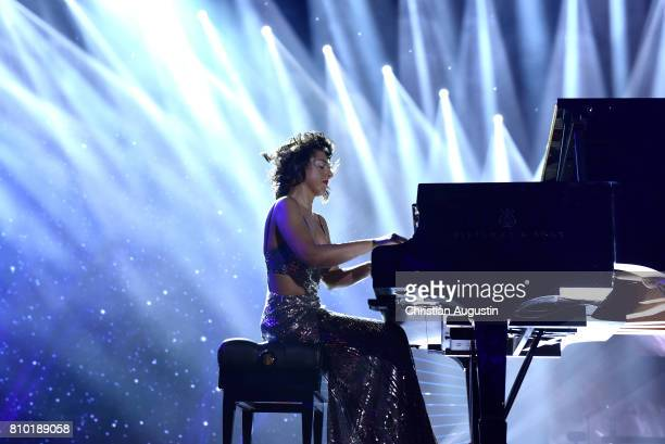 Khatia Buniatishvili performs during the the Global Citizen Festival at the Barclaycard Arena on July 6 2017 in Hamburg Germany