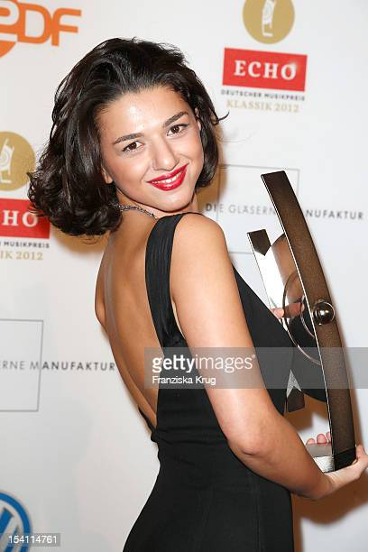 Khatia Buniatishvili receives an award at the Echo Klassik 2012 award ceremony at Konzerthaus Berlin on October 14, 2012 in Berlin, Germany.