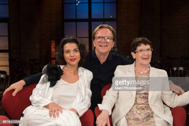 Khatia Buniatishvili Wolfgang Lippert and Rita Suessmuth attend the 'Koelner Treff' TV Show at the WDR Studio on June 2 2017 in Cologne Germany