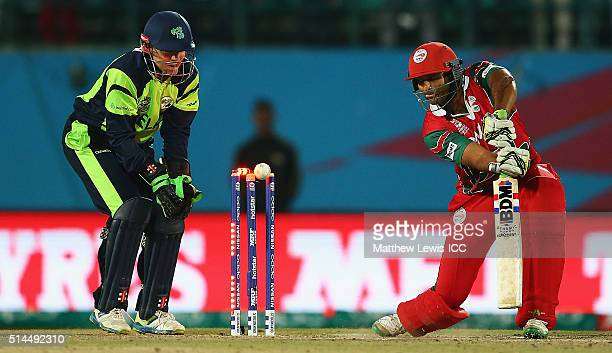 Khawar Ali of Oman is bowled by Kevin O'Brien of Ireland during the ICC Twenty20 World Cup match between Ireland and Oman at the HPCA Stadium on...