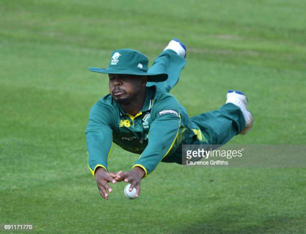 Khaya Zondo of South Africa A drops a catch off Ben Duckett of England during the One Day International match between England Lions and SouthAfrica A...