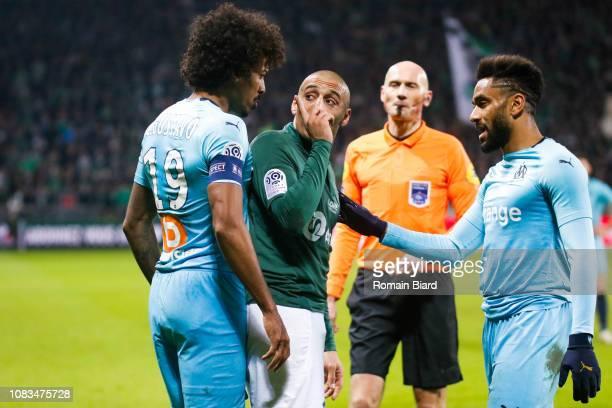 Khazri Wahbi of Saint Etienne and Luiz Gustavo of Marseille and Amavi Jordan of Marseille during the Ligue 1 match between Saint Etienne and...