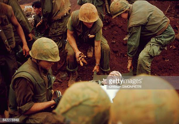 Khe Sanh A wounded marine is evacuated to the field hospital