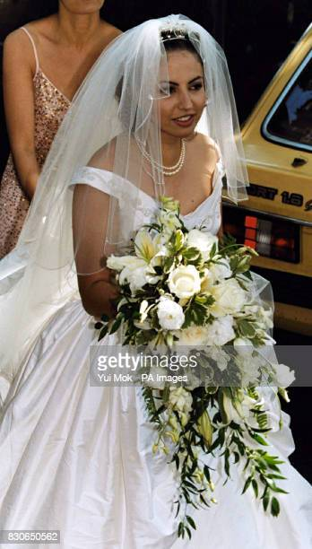 Kheira Bourahla arrives at her wedding to Julian Lloyd Webber in Kensington, London. The 50-year cellist and brother of millionaire composer Andrew,...
