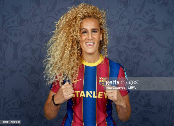 Kheira Hamraoui of Barcelona poses during the UEFA Women's Champions League Portraits at Barcelona Training Ground on March 18, 2021 in Barcelona,...