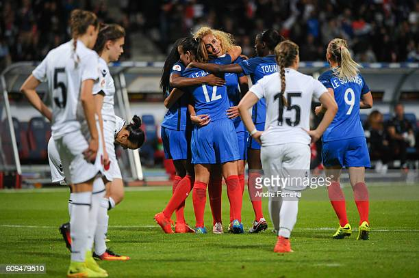Kheira Hamraoui of France celebrates with France players during the UEFA Women's EURO 2017 qualification match between France and Albania at Stade...