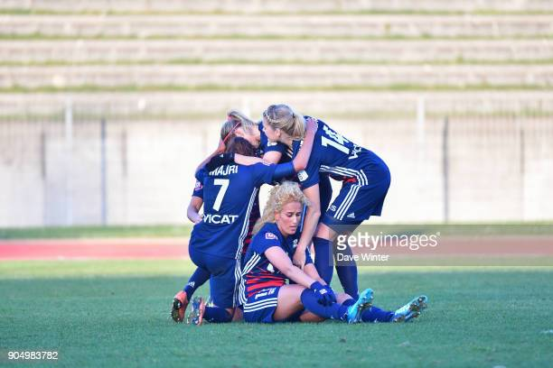 Kheira Hamraoui of Lyon celebrates with teammates after putting their side 40 ahead during the Division 1 match between Paris FC and Lyon on January...