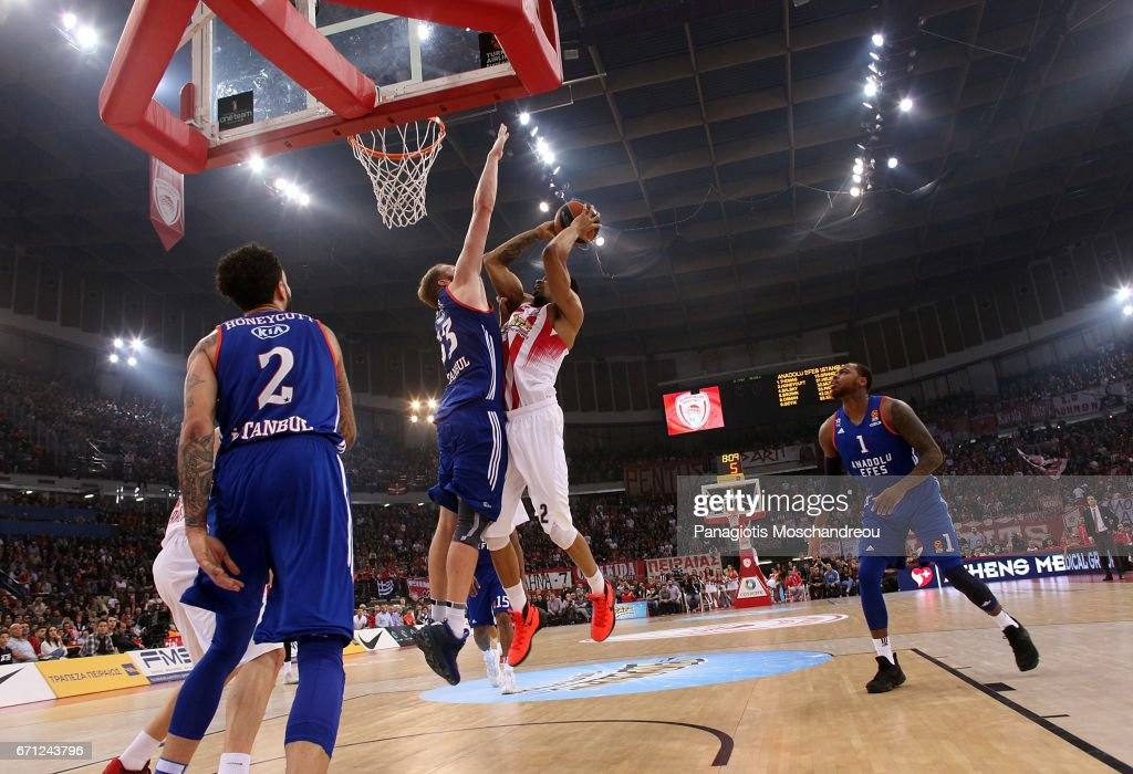 Khem Birch, #2 of Olympiacos Piraeus in action during the 2016/2017 Turkish Airlines EuroLeague Playoffs leg 2 game between Olympiacos Piraeus v Anadolu Efes Istanbul at Peace and Friendship Stadium on April 21, 2017 in Athens, Greece.