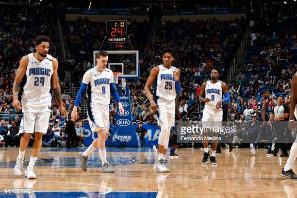 Khem Birch Mario Hezonja Wesley Iwundu and Jamel Artis of the Orlando Magic look on during the game against the Dallas Mavericks on April 4 2018 at...