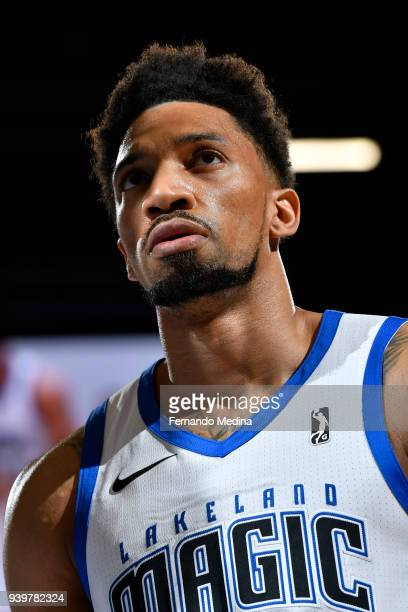 Khem Birch of Lakeland Magic looks on against the Delaware 87ers handles the ball against the Delaware 87ers on March 23, 2018 at RP Funding Center...