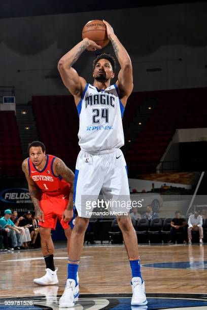 Khem Birch of Lakeland Magic shoots a free throw against the Delaware 87ers handles the ball against the Delaware 87ers on March 23 2018 at RP...