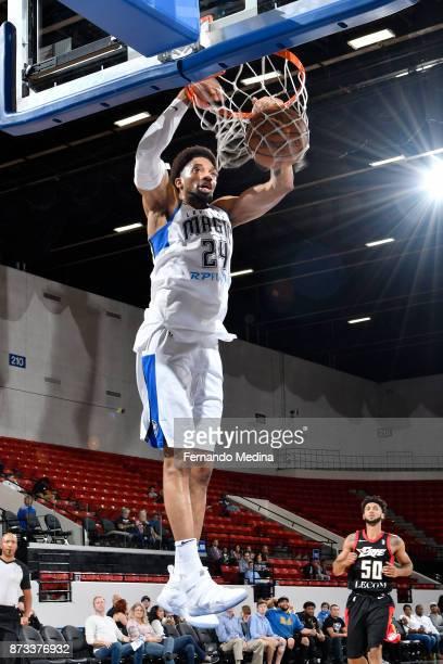 Khem Birch of the Lakeland Magic dunks against the Erie Bayhawks during the game on November 12, 2017 at RP Funding Center in Lakeland, Florida. NOTE...