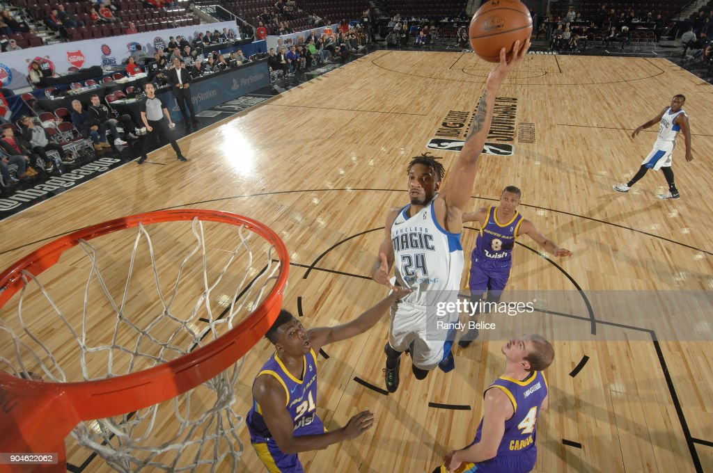 Khem Birch #24 of the Lakeland Magic handles the ball during the NBA G-League Showcase Game 24 between the South Bay Lakers and the Lakeland Magic on January 13, 2018 at the Hershey Centre in Mississauga, Ontario Canada.