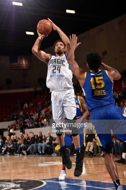 Khem Birch of the Lakeland Magic shoots the ball against the Santa Cruz Warriors on January 5, 2018 at RP Funding Center in Lakeland, Florida. NOTE...