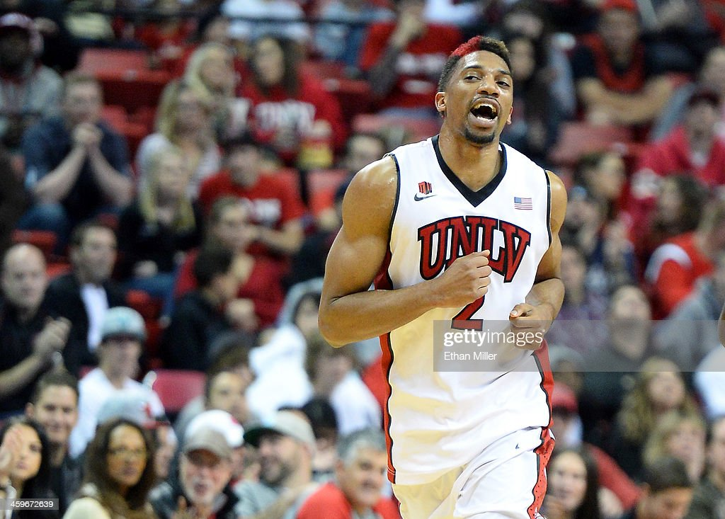 Khem Birch #2 of the UNLV Rebels reacts after hitting a shot against the California State Fullerton Titans during their game at the Thomas & Mack Center on December 28, 2013 in Las Vegas, Nevada. UNLV won 83-64.