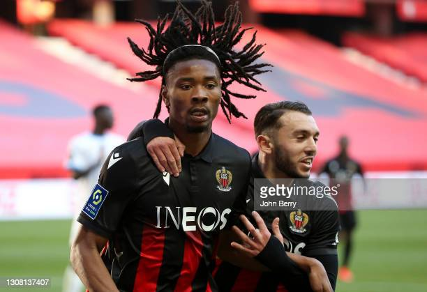 Khephren Thuram of Nice celebrates his goal with Amine Gouiri during the Ligue 1 match between OGC Nice and Olympique Marseille at Allianz Riviera...