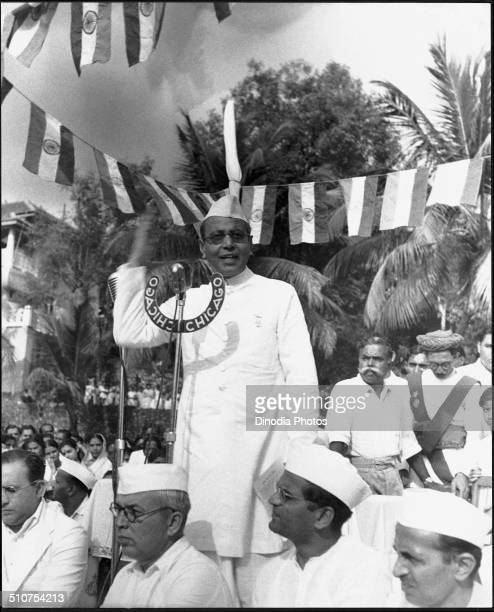 B G Kher addressing meeting on the day India got Independence at Gowalia Tank Bombay Maharashtra India 15 August 1947