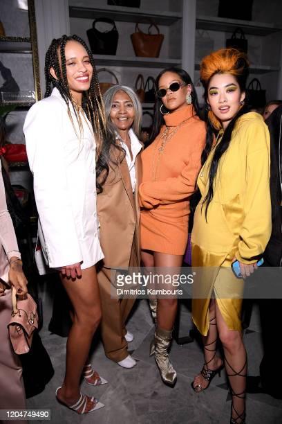 Khi-Lo, Joani Johnson, Rihanna, Rina Sawayama attends as Robyn Rihanna Fenty and Linda Fargo celebrate the launch of FENTY at Bergdorf Goodman at...