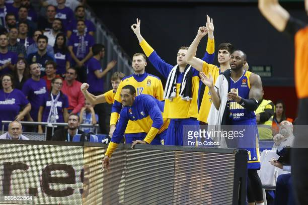 Khimki Moscow Region players celebrates the victory during the 2017/2018 Turkish Airlines EuroLeague Regular Season Round 5 game between Real Madrid...