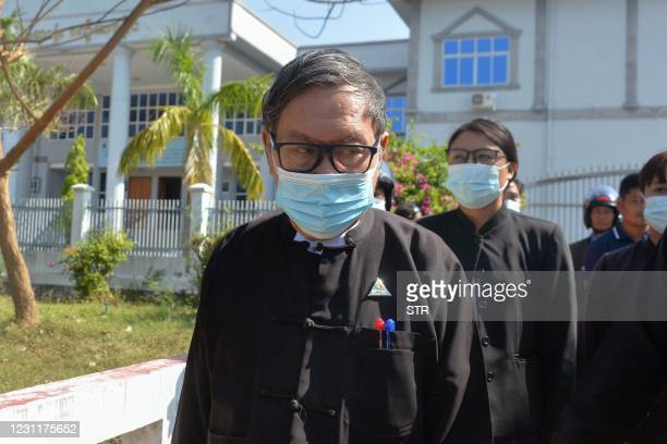 Khin Maung Zaw , a lawyer representing detained Myanmar civilian leader Aung San Suu Kyi and ousted president Win Myint, leaves Dekhina district...