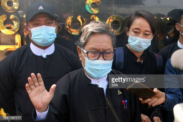 Khin Maung Zaw , a lawyer representing detained Myanmar civilian leader Aung San Suu Kyi and ousted president Win Myint, is pictured outside...