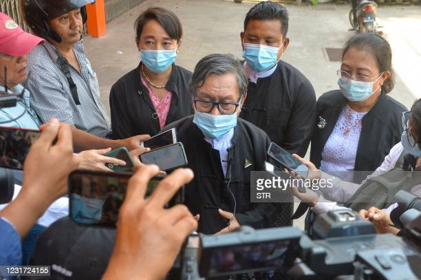 Khin Maung Zaw , lawyer for detained civilian leader Aung San Suu Kyi and President Win Myint, answers questions from the media after leaving...