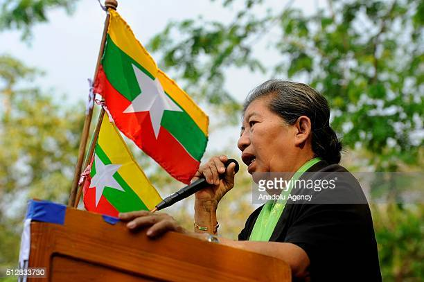 Khin Wine Kyi from National Democratic Force who submitted the proposal for four controversial Race and Religious Laws to parliament in 2013 gives a...
