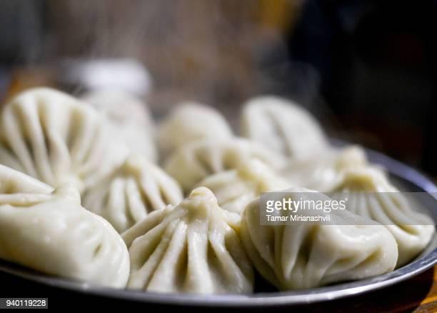 khinkali - georgian food - tbilisi stock pictures, royalty-free photos & images