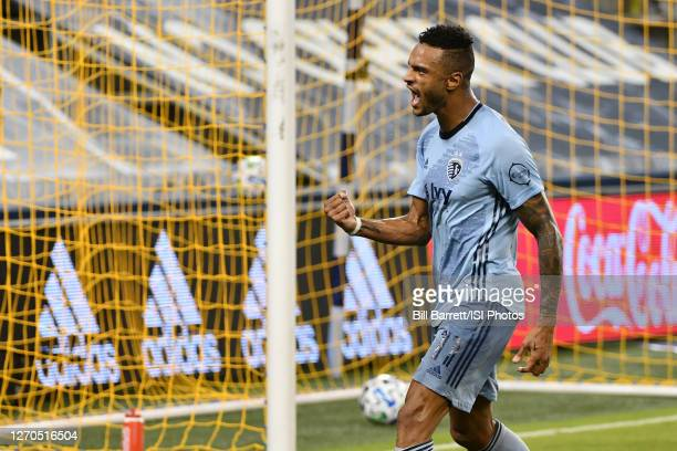 Khiry Shelton of Sporting Kansas City celebrates his goal during a game between FC Dallas and Sporting Kansas City at Children's Mercy Park on...