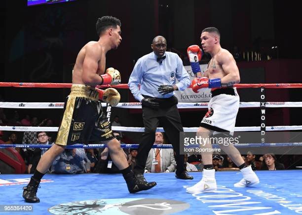 Khiry Todd battles Adrian Sosa during their bout on May 5 2018 at the Foxwoods Fox Theater in Mashantucket Connecticut Adrian Sosa defeated Khiry...