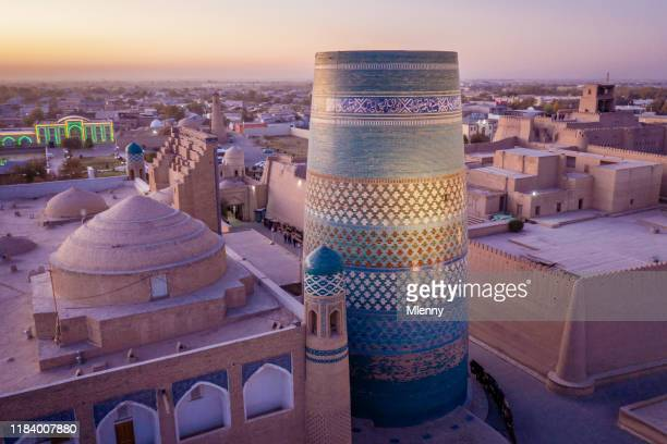 khiva sunset uzbekistan kalta minor - muziek stock pictures, royalty-free photos & images