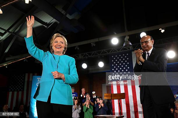 Khizr Khan and Democratic presidential nominee former Secretary of State Hillary Clinton greet supporters during a campaign rally at The Armory on...